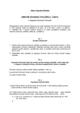 Obec Vysoká Srbská OBECNĚ ZÁVAZNÁ VYHLÁŠKA č. 2/2015, o