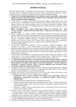 DOMOVNÍ ŘÁD - Bytové družstvo Juraje Jánošíka