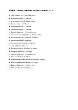 Podněty občanů doručené v červenci 2015