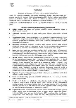 Vnitřní řád v souladu se Zákonem č. 372/2011 Sb., o zdravotních