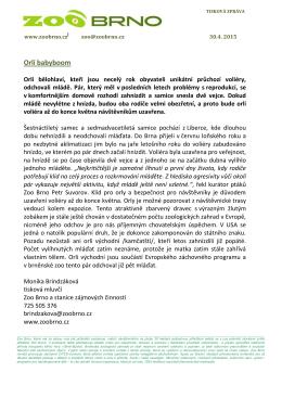 Tisková zpráva Zoo Brno 30. 4. 2015