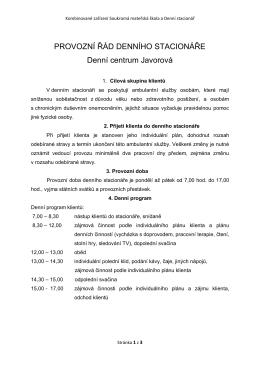 PROVOZNÍ ŘÁD DENNÍHO STACIONÁŘE Denní centrum Javorová
