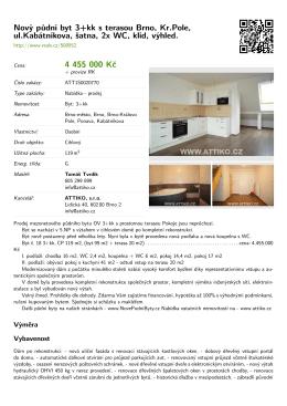 Nový půdní byt 3+kk s terasou Brno, Kr.Pole, ul
