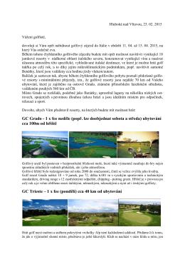 GC Grado - 1 x fee neděle - Golf Klub Hluboká nad Vltavou