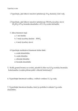 1.Vypočítejte, jaké látkové množství představuje 36 g chemicky čisté