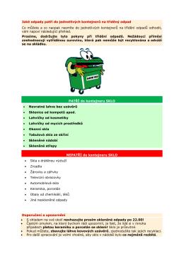 Jaké odpady patří do jednotlivých kontejnerů na tříděný odpad Co