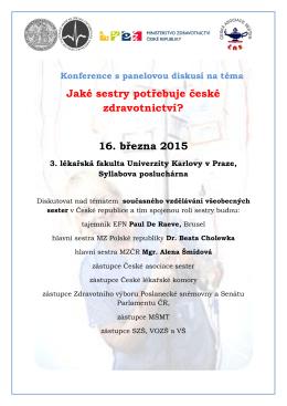 Jaké sestry potřebuje české zdravotnictví? 16. března 2015