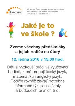 Jaké je to ve škole ? - Základní škola Bratrství Čechů a Slováků