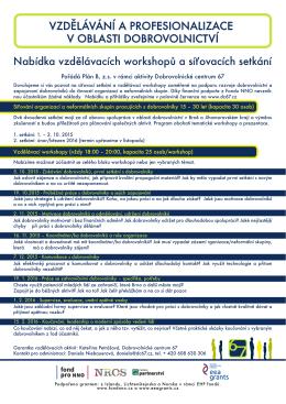 Nabídka vzdělávacích workshopů a síťovacích setkání 2