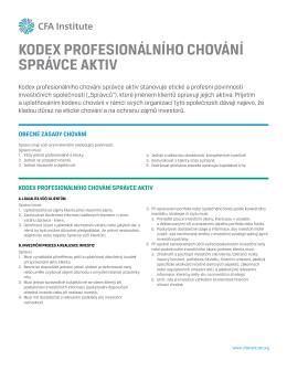 kodex profesionálního chování správce aktiv