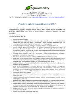 """""""Požadavky k plnění standardů systému GMP+"""""""