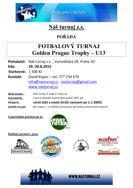 Propozice Golden Prague Trophy – U13