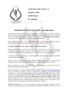 MISTROVSTVÍ ČR AMATÉRŮ - pravidla účasti
