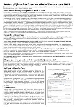 Informace o přijímacím řízení a návod k vyplnění