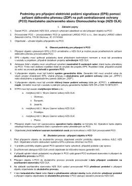 Podmínky pro připojení na PCO HZS OLK ke