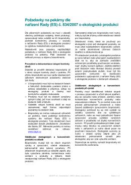 Požadavky na pekárny dle nařízení Rady (ES) č. 834/2007