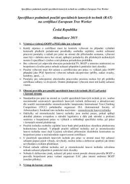 Specifikace podmínek použití speciálních lanových technik na