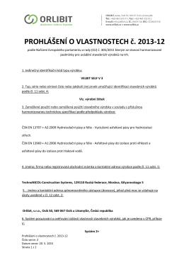 PROHLÁŠENÍ O VLASTNOSTECH č. 2013-12