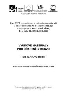 Výukové materiály - Time management