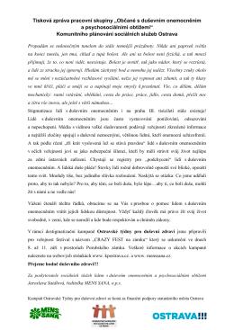 tiskovou zprávu - MENS SANA, o.p.s.