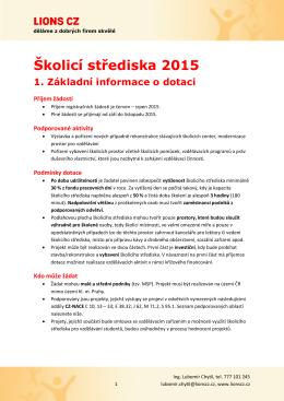 Školicí střediska 2015