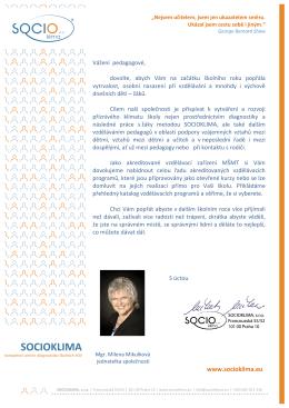 Nabídka SOCIOKLIMA pro školní rok 2015/2016