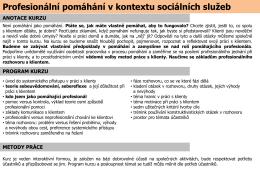 Profesionální pomáhání v kontextu sociálních služeb