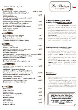 nové menu - La Bottega di Finestra