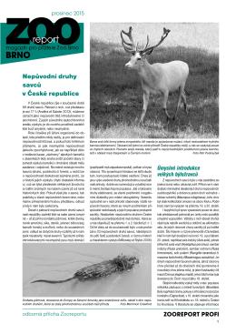 ZOOREPORT PROFI Nepůvodní druhy savců v České