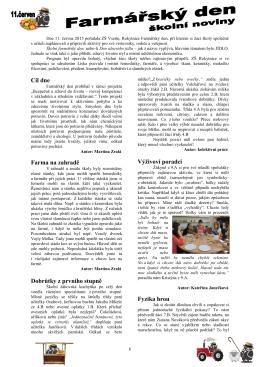 Otevřít školní noviny z farmářského dne.
