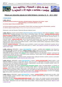 Pokyny pro účastníky zájezdu do Velké Británie v termínu 11. 4. – 18