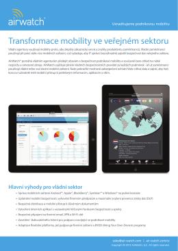 AirWatch - Transformace mobility ve veřejném sektoru