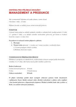 Kritéria pro přijímací zkoušky Management a produkce 63-41-M/01