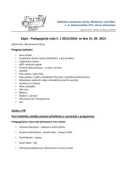 Zápis z pedagogické rady 31.8.2015