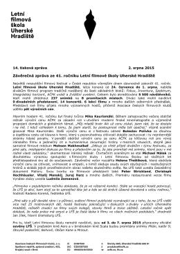 14. tisková zpráva LFŠ 2015 - Letní filmová škola Uherské Hradiště