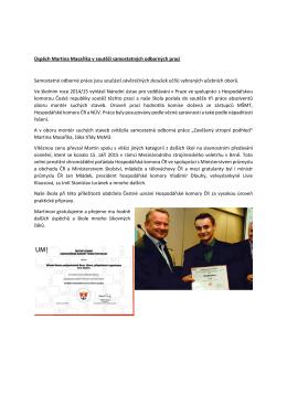 Úspěch Martina Masaříka v soutěži samostatných odborných prací