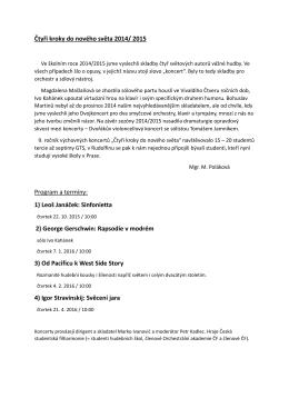 Čtyři kroky do nového světa 2014/ 2015 Program a termíny: 1) Leoš