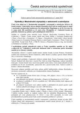 Zpráva v pdf ke stažení a pro tisk - Astronomická olympiáda