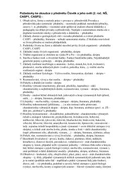 Požadavky ke zkoušce z předmětu Člověk a jeho svět (2. roč. NŠ
