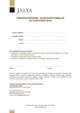 věrnostní program – registrační formulář jalta boutique hotel