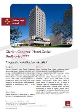 Clarion Congress Hotel České Budějovice**** Konferenční nabídka