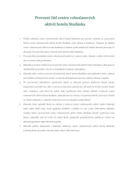 Provozní řád centra volnočasových aktivit hotelu Studánka