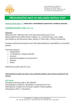 předvánoční akce ve wellness hotelu step