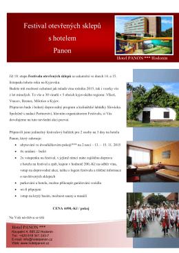 Festival otevřených sklepů s hotelem Panon