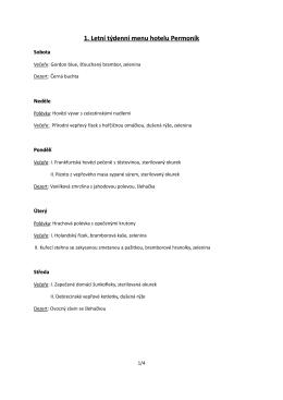 1. Letní týdenní menu hotelu Permoník