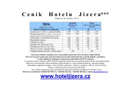 Běžný ceník hotelu včetně slev na rok 2016