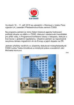 Ve dnech 10. - 11. září 2015 se uskuteční v Olomouci v hotelu Flora