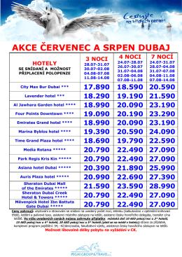 Ace na Dubaj Červenec a Srpen