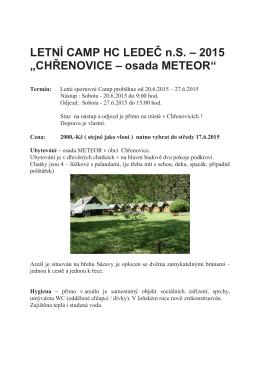 """LETNÍ CAMP HC LEDEČ n.S. – 2015 """"CHŘENOVICE – osada"""