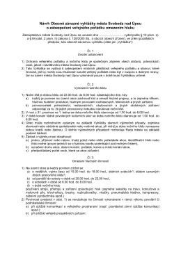 Návrh Obecně závazné vyhlášky města Svoboda nad Úpou o